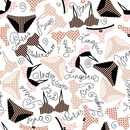Seamless background pattern. Underwear pattern with inscriptions.