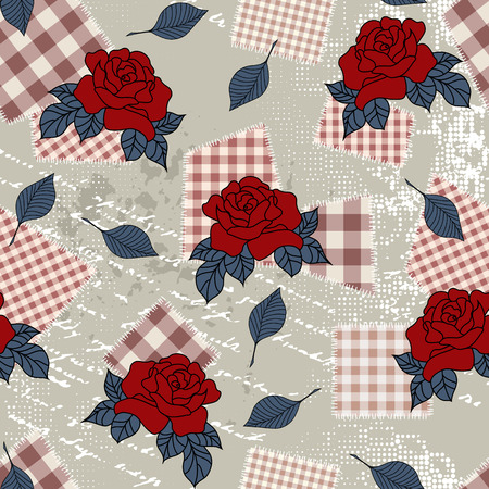 country style: Seamless background pattern. Will tile endlessly. Pattern with roses in country style