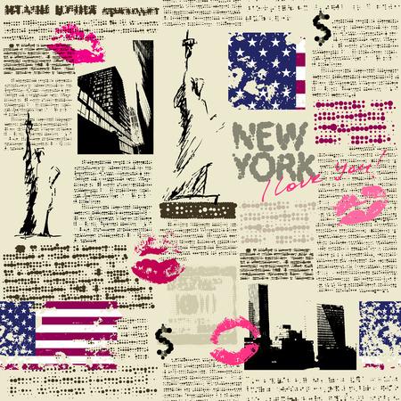 Naadloos patroon als achtergrond. Krant New York met de schets van het standbeeld van Liberty. De tekst is onleesbaar.