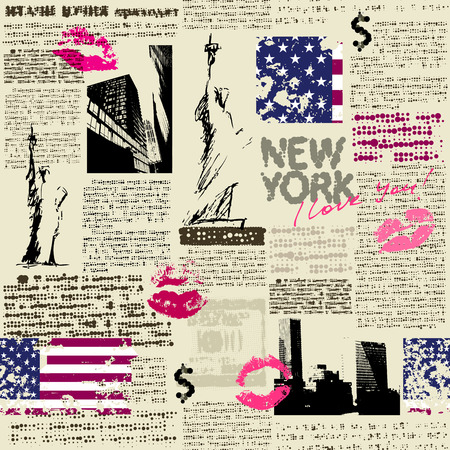 Seamless background pattern. Newspaper New York with the sketch of statue of Liberty. Text is unreadable.
