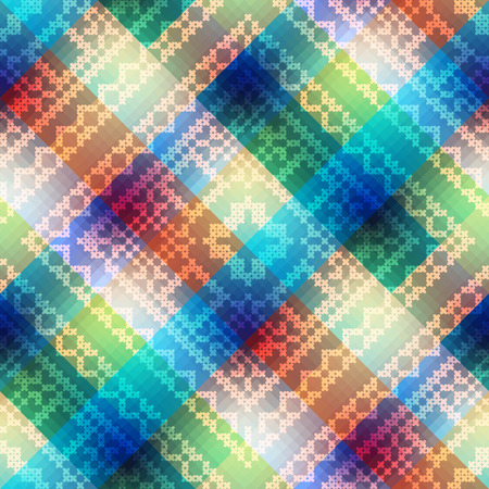 fancywork: Seamless background pattern. Plaid diagonal with embroidery ornament.