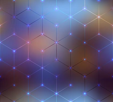 원활한 배경 무늬입니다. 흐린 배경에 추상 큐브 패턴. 일러스트