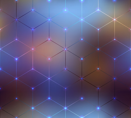 Seamless background pattern. Abstract cubes pattern on blurred background.