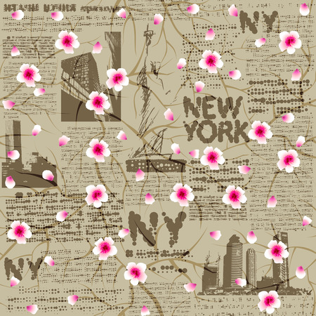 unreadable: Seamless background pattern. Newspaper New York with the sketch of statue of Liberty and cherry blossom. Text is unreadable. Illustration