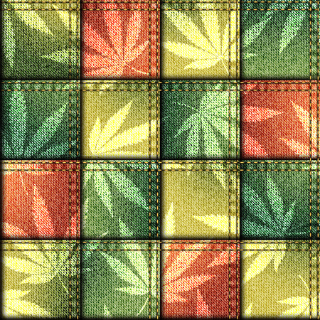 ganja: Seamless background pattern. Patchwork of denim fabric with hemp leaves.