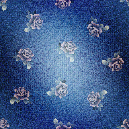 Seamless background pattern. Texture of denim fabric. Ilustração