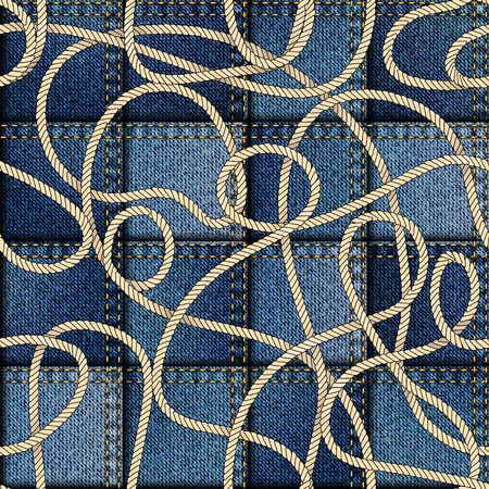 Seamless background pattern. Patchwork of denim fabric in nautical style. 矢量图像