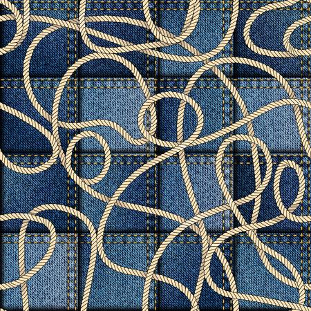 Seamless background pattern. Patchwork of denim fabric in nautical style. Ilustração