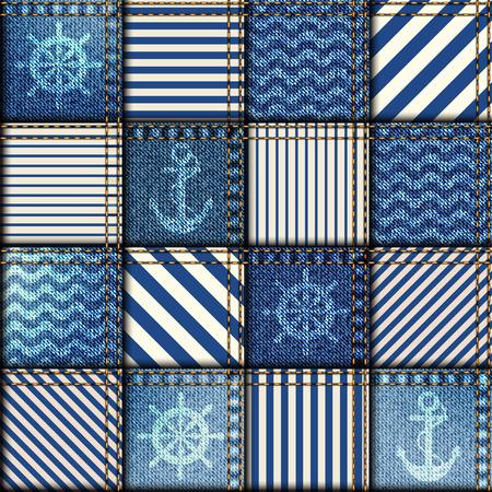 シームレスな背景パターン。海のスタイルでデニム生地のパッチワーク