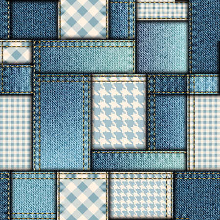 Seamless background pattern. Patchwork of denim fabric.