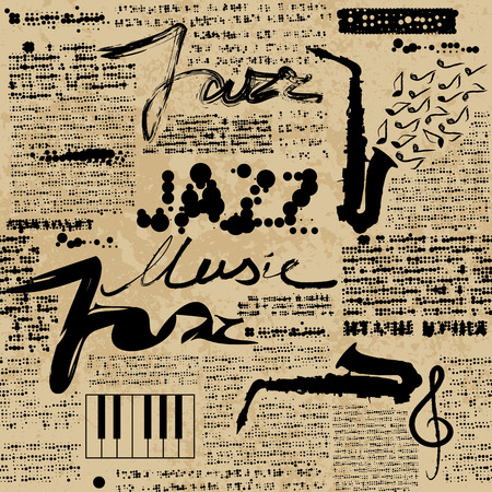 Seamless background pattern. Music jazz Newspaper. Text is unreadable.