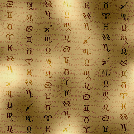 soothsayer: Seamless background pattern. Signs of zodiac on manuscript background.