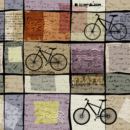 travel collage: Seamless background pattern. Retro travel pattern with inscriptions and bikes
