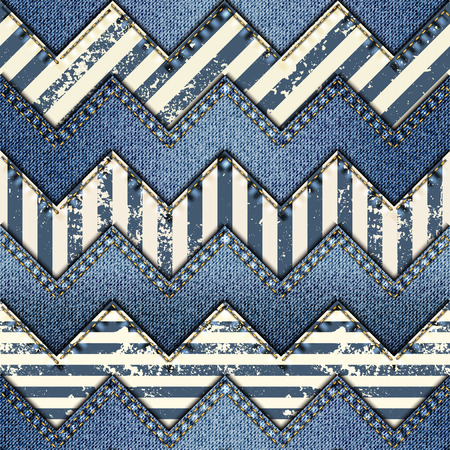 Seamless background pattern. Patchwork of denim fabric in nautical style