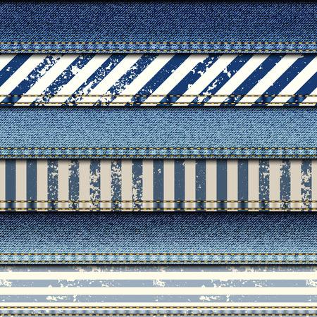 원활한 배경 무늬입니다. 해상 스타일의 데님 원단의 패치 워크