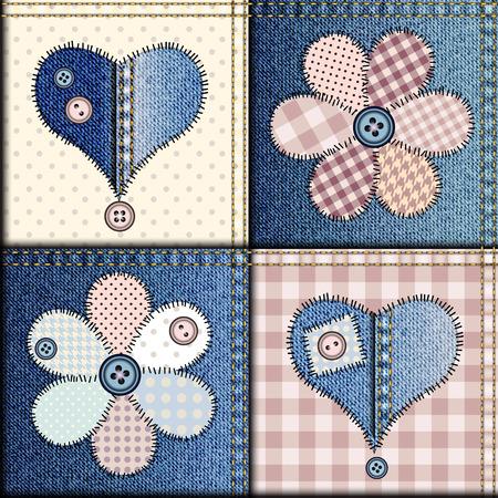 coser: Modelo inconsútil del fondo. Patchwork de tela de mezclilla con apliques de flores y corazones. Vectores