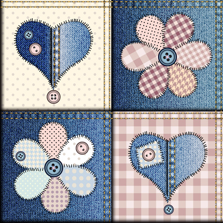 Seamless background pattern. Patchwork of denim fabric with applique of flowers and hearts. Vettoriali