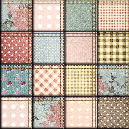 Seamless background pattern. Patchwork of denim fabric in shabby chic style.