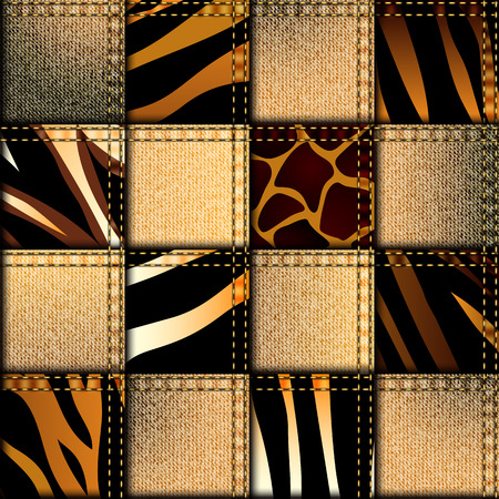 Seamless background pattern. Patchwork in safari style.