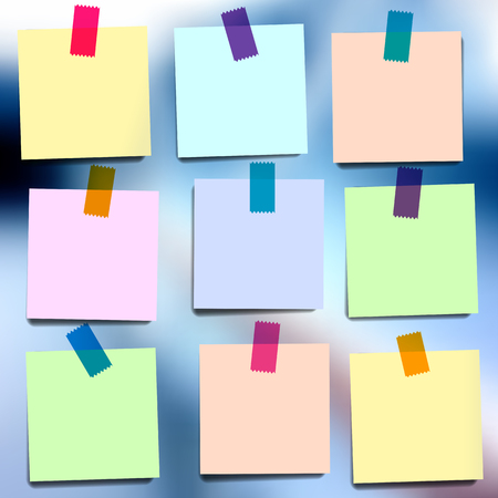 square tape: Sticky notes wallpapers on blurred vector background Illustration