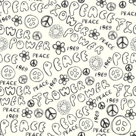 flower power: Seamless background pattern. Doodles inscription Flower Power. Illustration