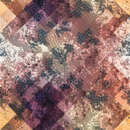 mosaic background: Seamless background pattern. Mosaic with roses and grunge effect.