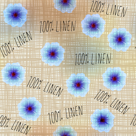 Seamless background pattern. Pattern with flowers linen with oridginal inscriptions.