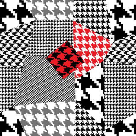 Seamless background pattern. Will tile endlessly. Patchwork with houndstooth ornament.