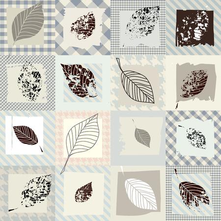 シームレスな背景パターン。葉とグランジ コラージュ。  イラスト・ベクター素材
