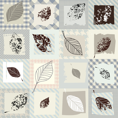 Seamless background pattern. Grunge collage with leaves.