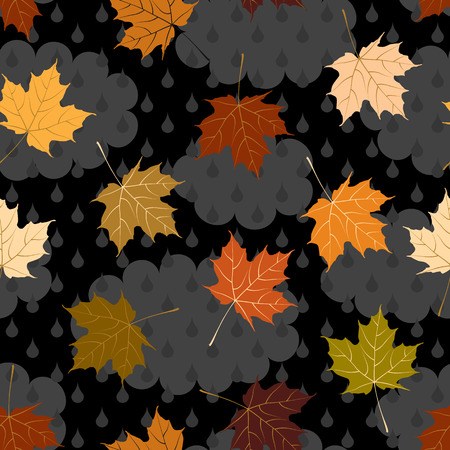 endlessly: Seamless background pattern. Will tile endlessly. Autumn cloudy background, with maple leaves Illustration