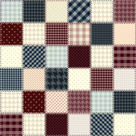 textille: Quilting design in chess order. Seamless background texture.