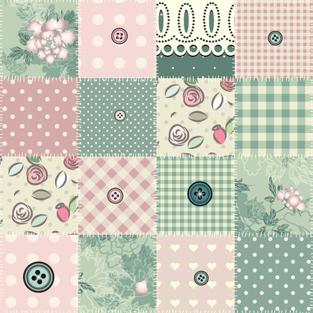 patchwork: Seamless patchwork in shabby chic style. Seamless pattern.