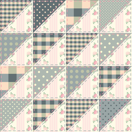 patchwork quilt: Seamless background pattern. The  patchwork quilt in shabby chic style from triangles. Illustration