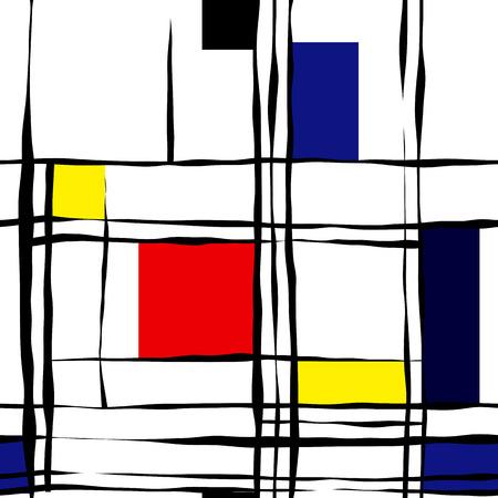 Seamless background pattern. Retro geometric pattern on white.  イラスト・ベクター素材