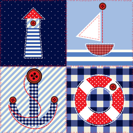 nautical pattern: Seamless background pattern. Patchwork in nautical style.