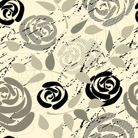 continuity: Seamless background. Roses collage with grunge elements. Illustration