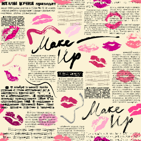 Seamless pattern with word Makeup and prints of lipstik. Imitation of newspaper, text is unreadable. Vettoriali