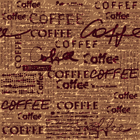 Seamless background pattern. Coffee pattern for menu design. Imitation of newspaper. Text is unreadable.