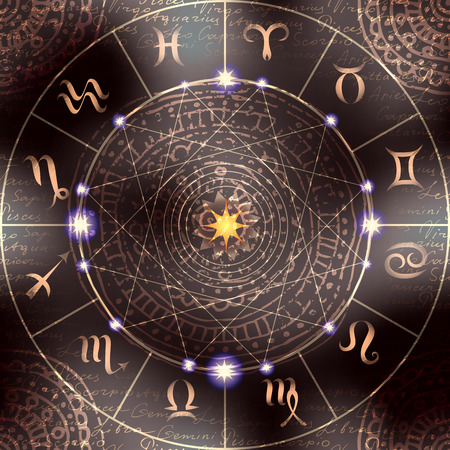 soothsayer: Magic circle with zodiacs sign. The background may be used as seamless pattern.