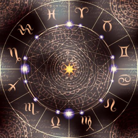 Zauberkreis mit Zodiacs Zeichen. Der Hintergrund kann als seamless pattern verwendet werden. Standard-Bild - 44146551