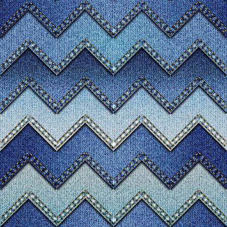 mezclilla: Modelo inconsútil del fondo. Chevron mosaico de tela de mezclilla.