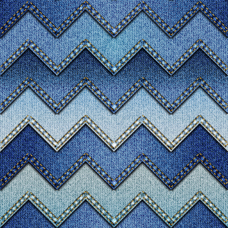 denim: Seamless background pattern. Chevron patchwork of denim fabric.