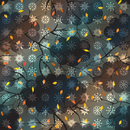 bad weather: Seamless background pattern. Pattern of stylish sky in bad weather with the snowfall.