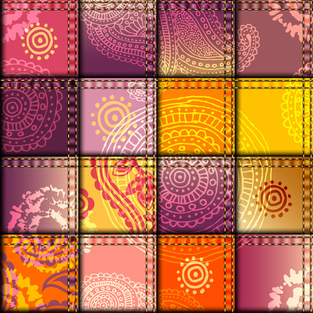 Seamless background pattern. Patchwork with orange fabric patches.
