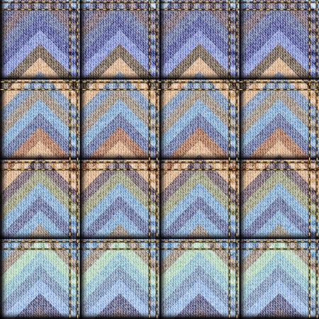 denim fabric: Seamless background pattern. Patchwork of denim fabric.