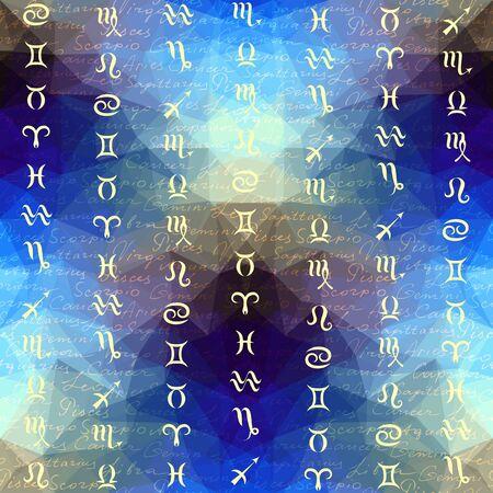soothsayer: Inscripciones originales de zodiacos nombres y los signos del zodíaco en el fondo geométrico. Patrón transparente.