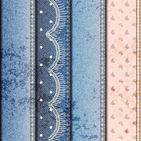 denim fabric: Seamless background pattern. Patchwork of denim fabric and lace Illustration