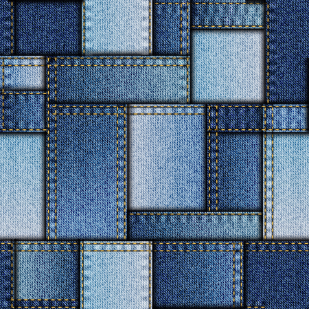 blue denim: Seamless background pattern. Patchwork of denim fabric.