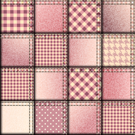 Seamless background pattern. Patchwork with pink denim fabric patches.